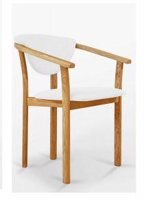 Tool Aleksis, 9181, iste+seljatugi-lumivalge kunstnahk, raam-täistammepuidust, õlitatud