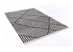 Vaip Vintage CrissCross, must ja valge, 65x135