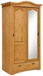 Lükandustega riidekapp Konrad 2 uksega, art.S-237, 111x64xK207 cm, peits 6, mesi, õlitatud