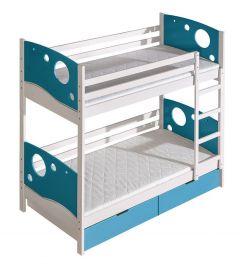 Nari Kevin+voodikastid(2 tk.), 80x190 cm, (88x196xK174 cm), valge/sinine