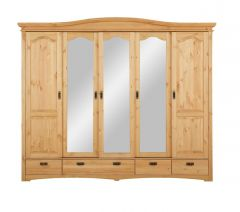 Lükandustega riidekapp Konrad 5 uksega, art.S-017, 249x64xK207 cm, peits 6, mesi, õlitatud