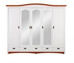 Lükandustega riidekapp Konrad 5 uksega, art.S-017, 249x64xK207 cm, värv-valge/kirss