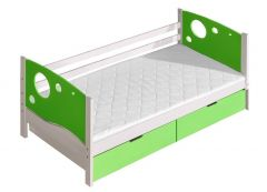 Voodi Kevin+voodikastid(2 tk.), 80x190 cm, (88x196xK71 cm), valge/roheline