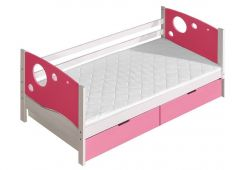 Voodi Kevin+voodikastid(2 tk.), 80x190 cm, (88x196xK71 cm), valge/roosa