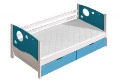 Voodi Kevin+voodikastid(2 tk.), 80x190 cm, (88x196xK71 cm), valge/sinine
